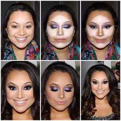 Highlight and contour Bridal makeup, Wedding makeup, Kim kardashion makeup, lashes, www.thaliobeckham.com