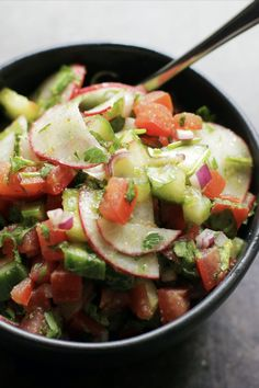 Israeli salad is a simple, healthy mixture of chopped fresh vegetables tossed with aromatic herbs, lemon juice and olive oil. In Israel and across the Middle East, every household has their own version. Don't feel obligated to stick to this recipe, there are very few rules. Diced carrots, bell peppers, hot chiles, crumbled feta, garbanzo beans, olives, nuts and seeds are all lovely additions.