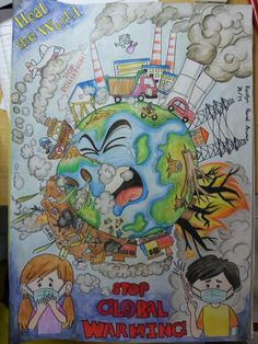 Heal the world! Stop Pollution! Baby Animal Drawings, Art Drawings For Kids, Art Drawings Sketches Simple, My Drawings, Doodle Art Drawing, Poster Drawing, Doctor Strange Drawing, Air Pollution Poster, Save Earth Drawing