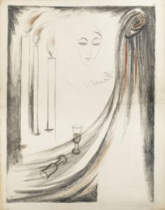 Design for a poster, Natalia Goncharova. Russian (1881 - 1962)  - Charcoal and Sanguine on Paper  -