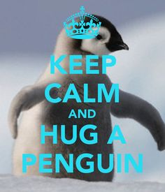 KEEP CALM AND HUG A PENGUIN - KEEP CALM AND CARRY ON Image Generator - brought to you by the Ministry of Information