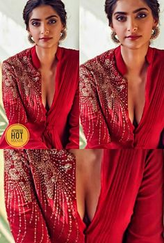 Sonam Kapoor, Deepika Padukone, Red Leather, Leather Jacket, Indian Girls, Blouse Designs, Bollywood, Sari, Movie