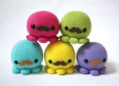Octopus Plushies with Mustaches