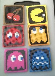 Pacman perler coasters.