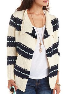 Textured Striped Cascade Cardigan Sweater: Charlotte Russe
