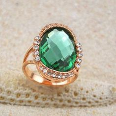 $4.85 Gorgeous Diamante Colored Faux Crystal Embellished Alloy Ring For Women