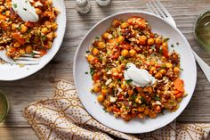 Roasted+Chickpea+&+Freekeh+Salad+with+Lemon+Labneh+&+Harissa-Glazed+Carrots.+Visit+https://www.blueapron.com/+to+receive+the+ingredients.