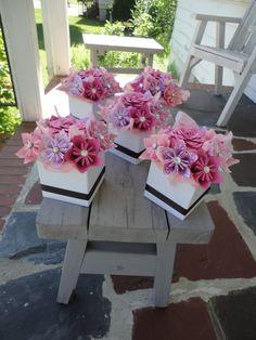 Centro de mesa flor papel de origami-conjunto de 5 por PoshStudios