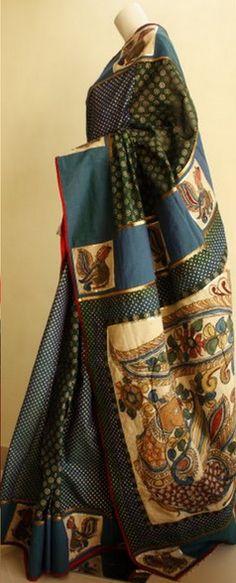 Kalam Kari Saree for All Ages! Indian Attire, Indian Ethnic Wear, Indian Style, Indian Dresses, Indian Outfits, Ethnic Outfits, Indian Clothes, Traditional Sarees, Traditional Dresses