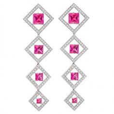Pre-owned 18K White Gold Tourmaline & Diamonds Squares Of Love... ($4,950) ❤ liked on Polyvore featuring jewelry, earrings, square diamond earrings, white gold jewellery, white gold dangle earrings, long diamond earrings and white gold square earrings