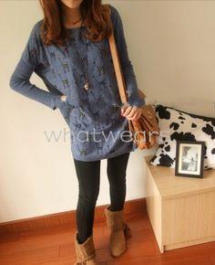 Fashion Women Cartoon Giraffe Pattern Loose T Shirt Tops Coat M1396   eBay