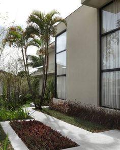 #olhomágicocj #pessutopaisagismo Neste corredor lateral, criei pequenos espaços para plantio entre o caminho delimitado com placas de fulget. Do lado esq., trapoeiraba-roxa seguida por iris e bambu. No canteiro rente a casa, grama-esmeralda e capim-do-texas @pessutopaisagismo #paisagismo #greeninspiration #verde #landscape #jardim #quintal #relax #relaxamento #garden #gardening #corredor