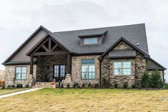 Don't let the view from the front of this house plan fool you into thinking there is no space inside.This house plan shows off the rustic charm on the exterior and expertly used space on the interior.The open concept great room, kitchen, and breakfast room feature a stone gas fireplace, two islands to allow lots of work space, and exposed truss beams on the ceiling.The master suite features his and her walk-in closets and a luxurious bath with a tile shower and free-standing tub.Four…