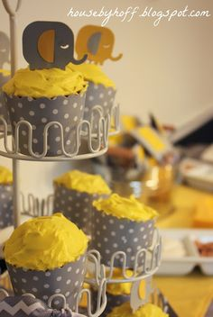 "House by Hoff: A Gray & Yellow Elephant Baby Shower + Free ""Wishes"" Printable"