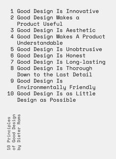 """""""10 Principles of Good Design"""" letterpress print, available as a 5"""" x 7"""" card and NEW larger 16.5"""" x 23"""" print."""
