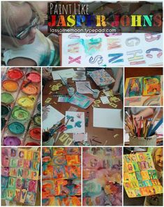 "Paint like Jasper Johns. A lesson plan for teaching wax resist, color theory, watercolor exploration, letter drawing, and more. Plus, a dab of art history. The class reproduces John's ""Colored Alphabet"". lassothemoon.typepad.com"