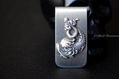 Koi Dragon Money Clip  Antique Sterling Silver by blackpersimmons