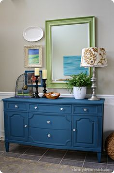 aubusson blue chalk paint dresser by @Thrifty Decor Chick