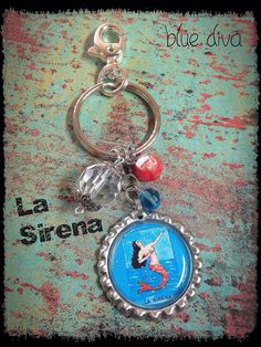"Vintage Mexican Loteria ""La Sirena""... Bottle Cap Keychain, Purse Charm, bag Charm on Etsy, $8.50"