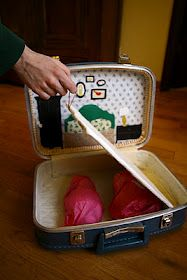 suitcase dollhouse with interchangeable backdrops