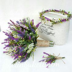 Lavanta buketimiz lavanta taç modelimiz ve yaka çiçeği Siparis ve bilgi icin http://gelinshop.com/neealcan/pin/323907398185404933/