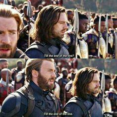Till the end of the line Bucky and Captain America The Avengers, Avengers Memes, Marvel Memes, Marvel Dc Comics, Avengers Imagines, Bucky Barnes, Steve Rogers, Infinity War, Infinity Rings