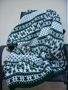 Fair Isle Crochet Afghan Blanket/Green and by CabinByThePines