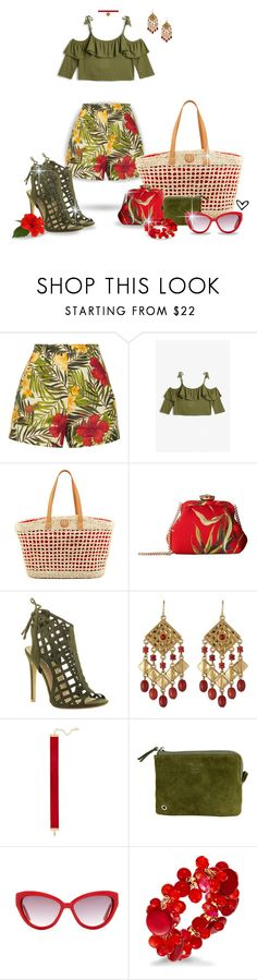 """""""~Miguelina Joone~ Tropical Print Linen Shorts ~"""" by justwanderingon ❤ liked on Polyvore featuring Miguelina, Monki, Tory Burch, Dolce&Gabbana, Beston, Lauren Ralph Lauren, Chanael K, VIPARO, Moschino and Style & Co."""