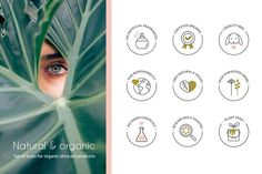 Set of elegant icons for natural and organic skincare products. Include common topics like natural and vegan, cruelty free, no artificial fragrances and All Icon, Icon Set, Illustrator Cs6, Logo Background, Scene Creator, Organic Skin Care, Fall Crafts, Design Bundles, Icon Design