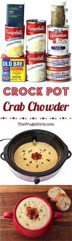 Crock Pot Crab Chowder Recipe! ~ from TheFrugalGirls.com ~ go grab your Crockpot and get ready for some seriously EASY and super delicious Crab Chowder!  It's rich, creamy, and the perfect way to warm up on a chilly evening! Crockpot Crab Dip, Fish Crockpot Recipes, Can Crab Meat Recipes, Canned Crab Recipes, Easy Crockpot Soup, Frozen Corn Recipes, Crock Pot Shrimp, Canned Crab Meat, Stew Meat Recipes