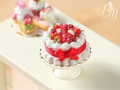 Summer Red Fruit Cream Cake - Miniature Food for Dollhouse 12th scale 1:12