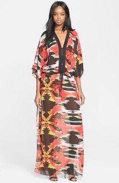Just Cavalli 'Explosive Nature' Print Chiffon Caftan Maxi Dress available at #Nordstrom