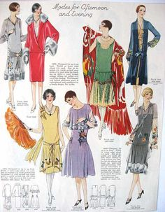 Vintage 1920's Womens Fashions Illustration, Print for Framing, Scrapbooking. $9.95, via Etsy.