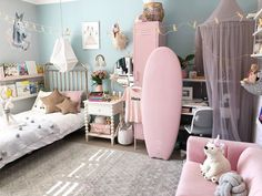 How will you celebrate Children's Day with your kids ! Give your children an abode of luxury, comfort and security which they deserve from you. Tell us your choice whether you will go with 'A' or 'B' for your kid's room ? Baby Room Decor, Nursery Decor, Room Store, Wall Borders, Grey And Beige, Creative Decor, Dream Rooms, Modern Rugs, Girls Bedroom