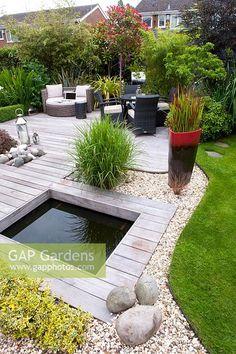 Back Gardens, Small Gardens, Outdoor Gardens, Back Garden Design, Backyard Garden Design, Pond Design, Back Garden Landscaping, Contemporary Garden Design, Garden Makeover