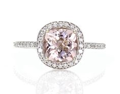 14K Cushion Morganite Engagement Ring Diamond Halo Morganite Ring Custom Bridal Jewelry on Etsy, $945.00