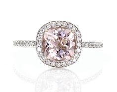 14K Cushion Morganite Engagement Ring Diamond Halo Morganite Ring Custom Bridal Jewelry