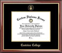 Canisius College Diploma Frame - Embossed Seal - Mahogany Gold Trim