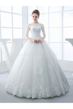 A long cherished dream: wedding dresses half sleeves scoop neck appliques beading ball gown wedding dress elegant wedding dresses ZGKYSKY Princess Wedding Dresses, Modest Wedding Dresses, Cheap Wedding Dress, Bridal Dresses, Gown Wedding, Tulle Wedding, Bridesmaid Dresses, Latest Wedding Gowns, White Wedding Gowns
