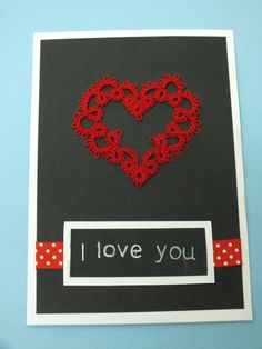 Valentines Card Heart Lace Card Lovers Card I love by Hermitinas