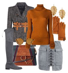 """""""gray and rust"""" by srlangley on Polyvore featuring WithChic, Chloé, Tom Ford, Stuart Weitzman, MARIOS, Ray-Ban, Marika and UGG"""
