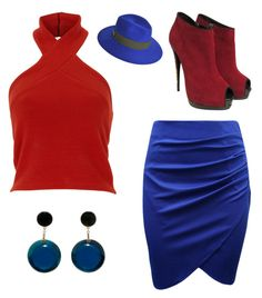 """Red and Blue"" by catfashionlover26 ❤ liked on Polyvore featuring Marni, Giuseppe Zanotti and Maison Michel"