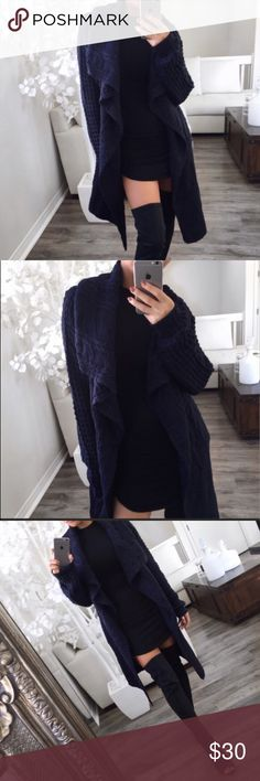 Navy Cable Knit Cardigan **Re- Posh. I bought this item from a boutique on the Posh app brand new with tags. I've only worn it once, so it's in perfect condition! It's a thick/heavy material thats really great quality. Pictures are from previous seller, I can provide more upon request! Sweaters Cardigans