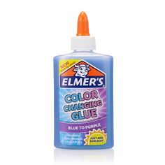 Elmers Color Changing Glue Blue To Purple 5 oz Perfect For Slime Crafts. Elmer's color changing liquid glue is specially formulated washable glue that changes to a different color in sunlight. Slime No Glue, Slime Craft, Make Color, Color Change, Easy Slime Recipe, Slime Kit, Clear Glue, Elmer's Glue, Glue Crafts