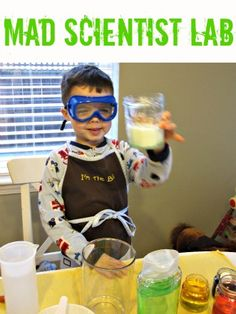 Kitchen table science lab - great pretend play
