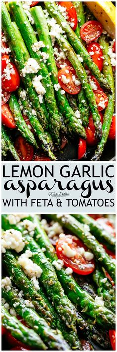 Lemon Garlic Asparagus topped feta cheese, tomatoes and drizzled with Mediterranean flavours makes the perfect side dish! Extremely addictive and takes less than 10 minutes to cook! Crispy on the outside, nice and tender on the inside and full of incredible lemon, garlic and herb flavours! | cafedelites.com