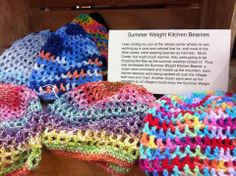 Summer Weight Kitchen Beanies by Golden Quince Designs for $10 each! So Cute!