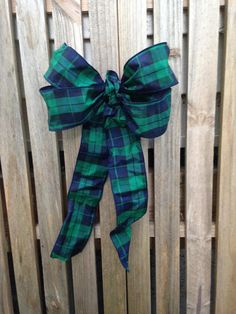 Pew Bow Black Watch Plaid gift bow taffeta wreath tartan