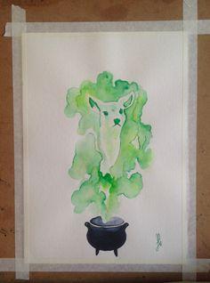 Remembering Alan Rickman. Watercolor painting. Harry Potter. Patronus