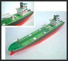 This paper model is an Oil Tanker (aka petroleum tanker), a merchant ship designed for the bulk transport of oil, created by Oswaldo Rosales. Description from papertoys.wikidot.com. I searched for this on bing.com/images